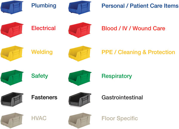 color coding storage bins