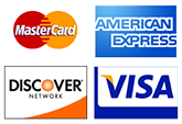 We Accept Visa, Amex , Discover and Master Card