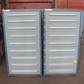 "27.75""x30""x59"" Used Vidmar Cabinet with 9 Taller Drawers"