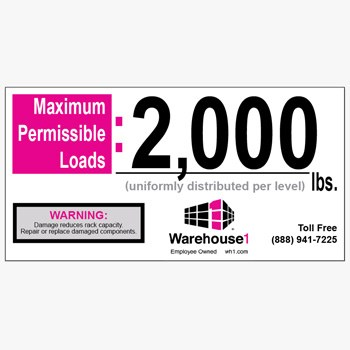 2000 lbs. WH1 Max-Capacity Label