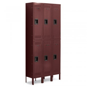 "12x18x36"" Openings - 2-Tier Locker - 3 Lockers Wide - Welded - Wine"