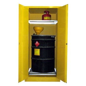 60 Gal. Flammable Drum Cabinet, Horizontal, Self-Latch Sliding Door