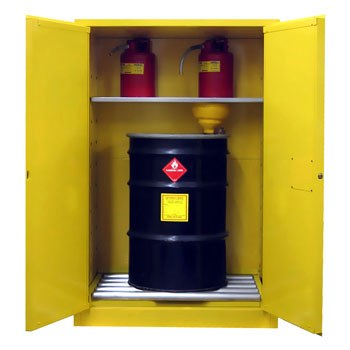75 Gal. Flammable Drum Cabinet, Vertical, Self-Latch Sliding Door