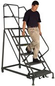 6 Step Serrated Forward Descent Angle Base Ladder