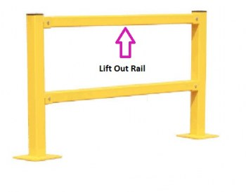 8'L Modular Protective Railing, Lift-Out Rail