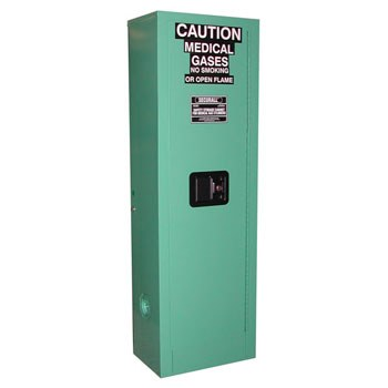 2 D&E-sized Medical Gas Cylinder Storage Cabinet, Manual Door