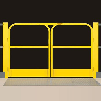 2 Rail Mezzanine Double Swing Gate